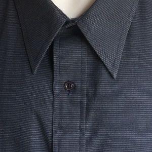 OLEG CASSINI MEN DRESS SHIRT BLUE/BLUE 17 1/2   37